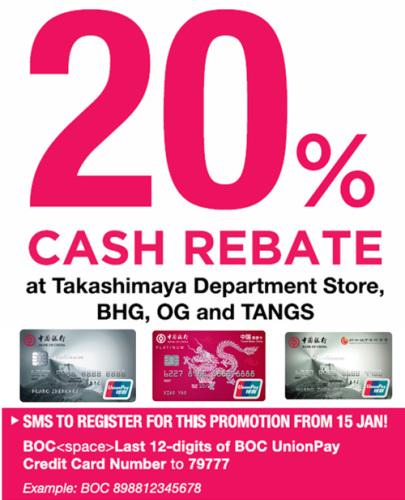 20% Cash Rebate At Takashimaya Department Store, BHG, OG
